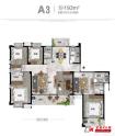 A3户型建筑面积193㎡五室三厅三卫三阳台