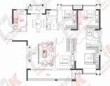 建面约129㎡四房两厅两卫